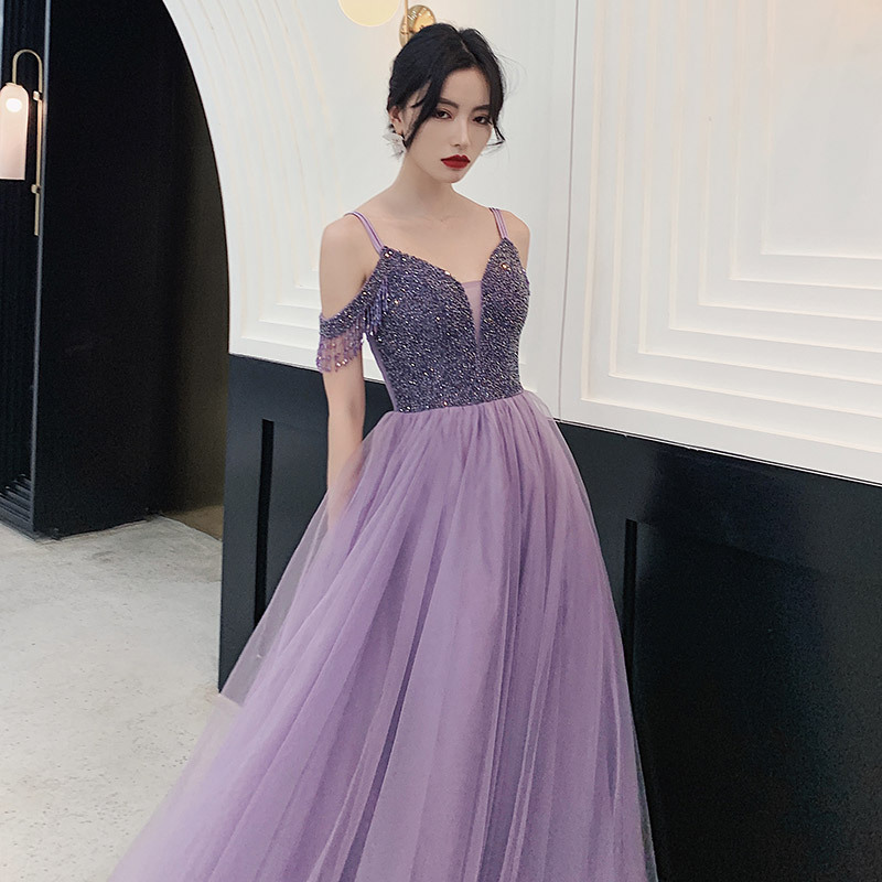 JaneVini Charming Purple Long Prom Dresses 2020 V Neck Beading Sleeveless Tulle Floor Length A Line Prom Party Gowns for Women