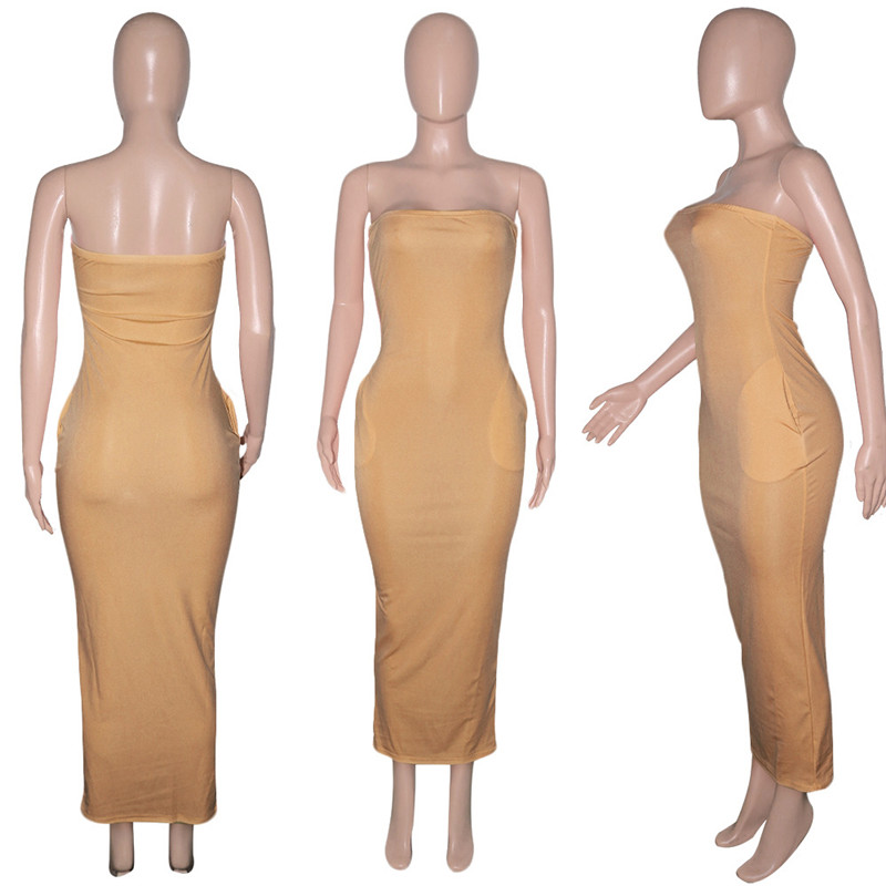 ANJAMANOR Sexy Tube Top Long Maxi Dress with Pockets Plus Size Casual Summer Dresses for Women 2021 Wholesale Items D0-BI20 5