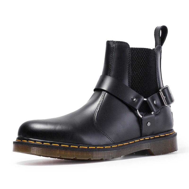 Buckle Chelsea boots men's couple Martin boots men's leather boots men and women casual leather boots England Martin boots shoes