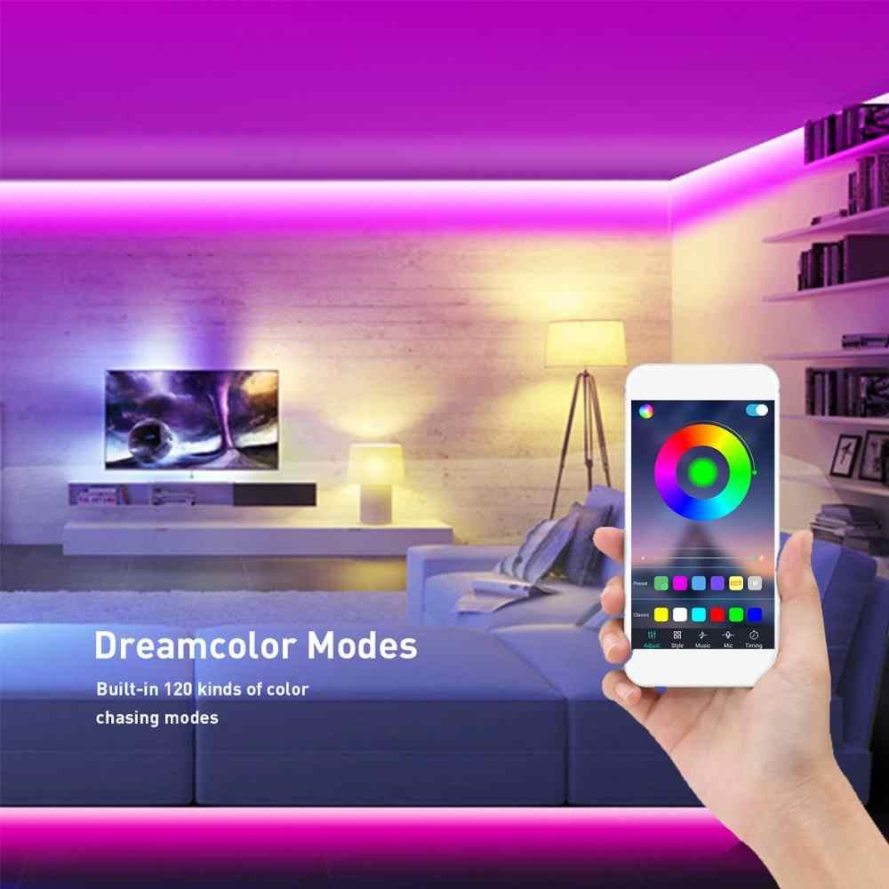 Lumière à bande lumineuse, 24V 10M (32.8Ft), 5050 RGB, rythme de la musique, lumière de noël, 20 couleurs et 30 modes brillants par smart control