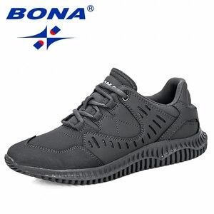 Image 1 - BONA 2019 New Designers Uomini Spaccato Della Mucca Casual Scarpe Uomo scarpe Outdoor A Piedi Scarpe Da Ginnastica Tenis masculino Zapatillas Hombre Maschio Alla Moda