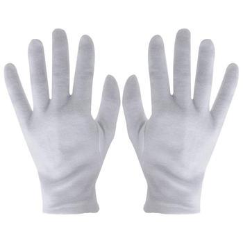 1 pary białe bawełniane rękawiczki praca dla suchych rąk obsługa filmów SPA rękawice uroczyste rękawice inspekcyjne tanie i dobre opinie CN (pochodzenie) Oddzielone palce Nylon i bawełna Unisex dropshipping