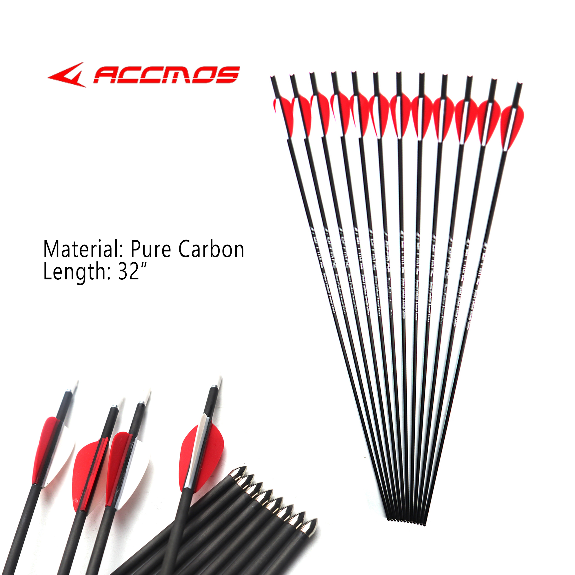 12pc Hot Pure Carbon Arrow Spine 500 600 700 800 900 1000 1100 1300 1500 1800 ID 4.2 Mm Archery For Recurve Bow Hunting Shooting