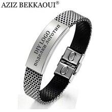 AZIZ BEKKAOUI мужские ювелирные изделия ID браслеты для мужчин персонализированные имя браслет из нержавеющей стали браслеты на заказ логотип гравировка имя сервис