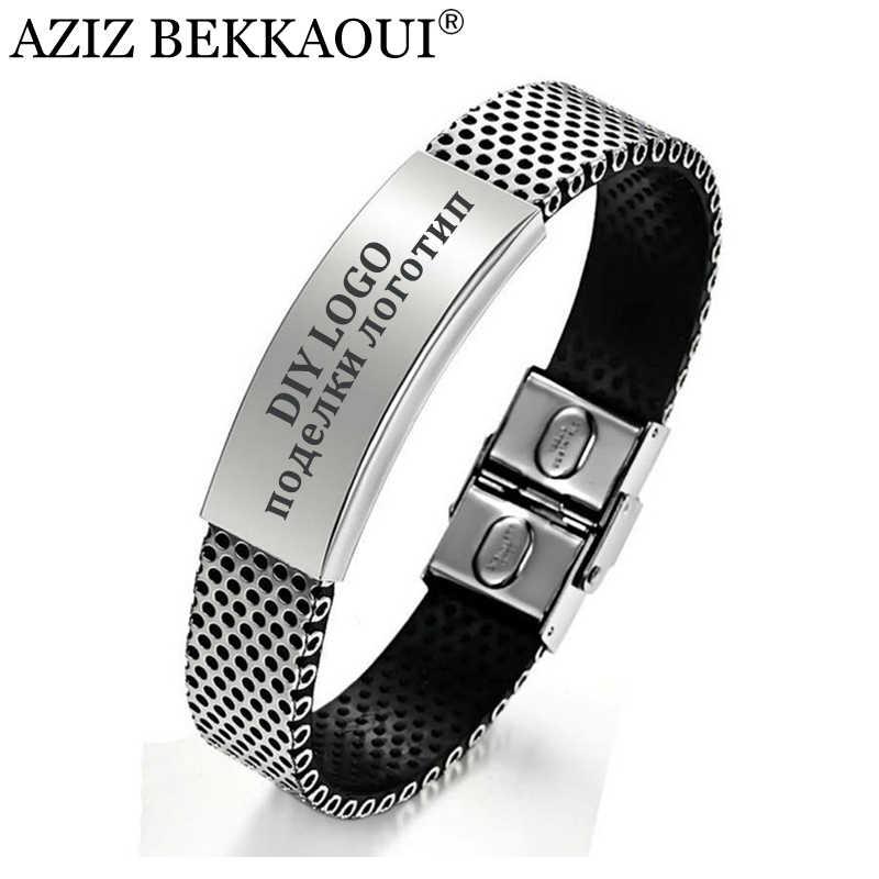 Aziz Bekkaoui Người Trang Sức ID Vòng Tay Cho Nam Cá Tính Tên Lắc Tay Thép Không Gỉ Kiểu Lắc Tay Tùy Chỉnh Logo Khắc Tên Dịch Vụ