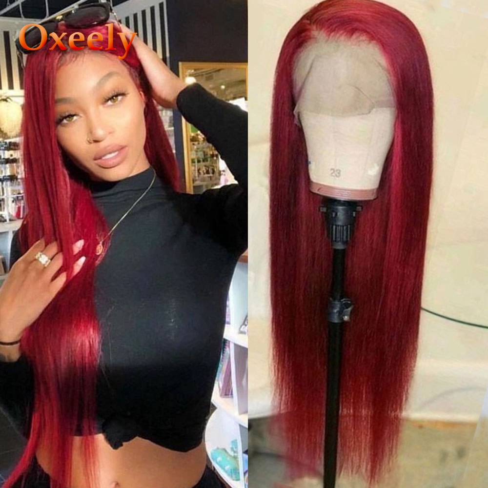 Oxeely Long Straight Lace Front Wigs Red Color Wig Glueless Heat Resistant Fiber Hair Synthetic Lace Front Wigs For Black Women