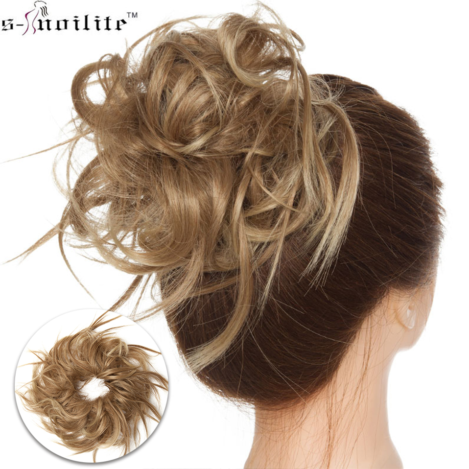 S-noilite synthetic chignon Hair Bun Straight Donut Chignon Elastic Messy Scrunchies Wrap For Ponytail hair extension For Women