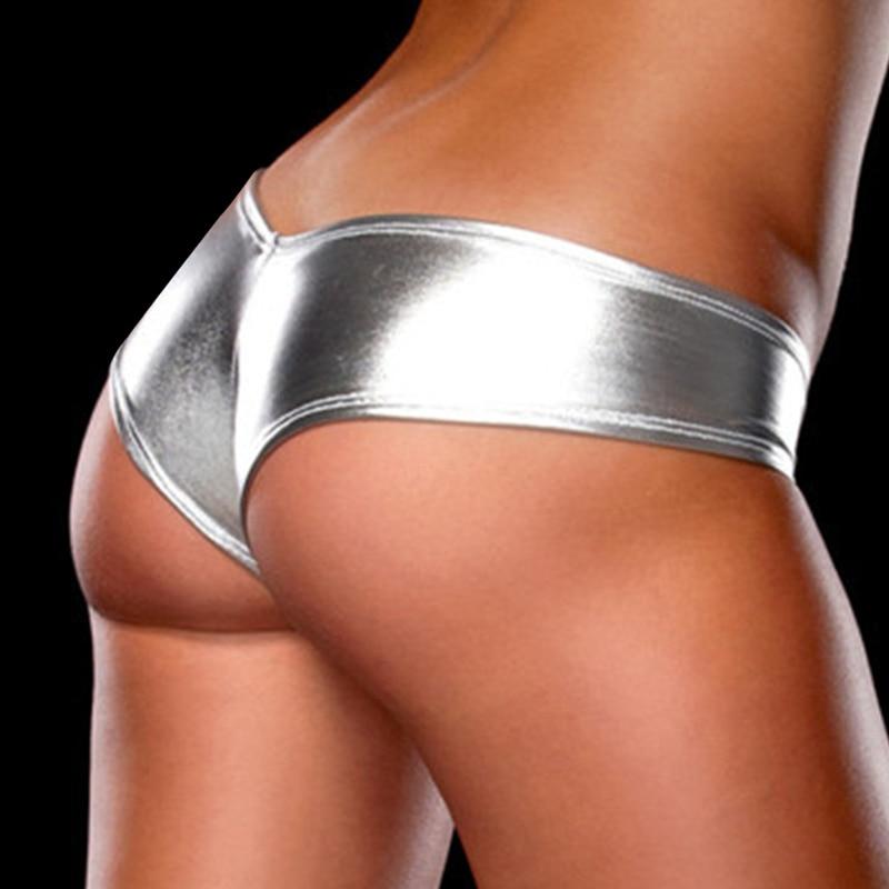 H2fa79dd3eb6f44a981e627bd68b818f5c Women Sexy Panties Underwear Woman Solid Flashing Opaque Patent Leather Imitation Leather Pants Shining Stringi Underwear