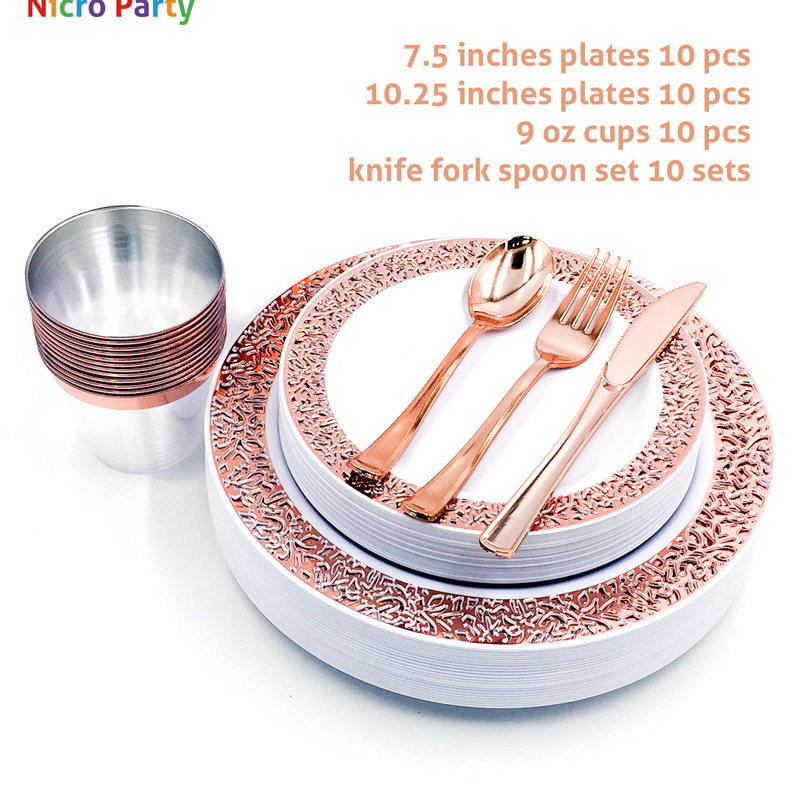 Nicro 10/20/50 Pcs/set Rose Gold Cups Plastic Plates Fork Knives Spoons Disposable Clear Dinnerware Set Party Supplies #DPT19
