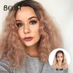 Bella Bob peruka syntetyczny różowy i blond mieszane kolor czarne peruki dla kobiet 15 cal średniej długości wody fala żaroodporne Cosplay peruki
