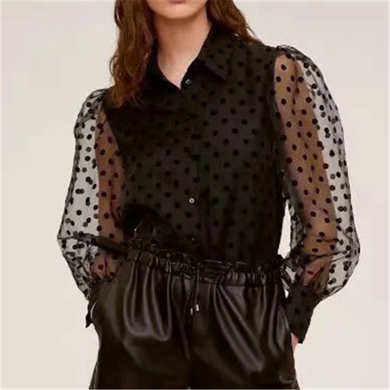 Sexy Organza Polka Dots Black Blouse Long Sleeve Female Casual See Through Shirts Chic Transparent Tops Blusas 2020