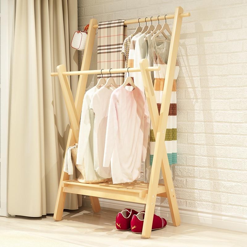 Wholesale Wood Coat Rack Floor Bedroom Clothes Rack Household Multi-functional Clothes Rack Creative Clothes Rack