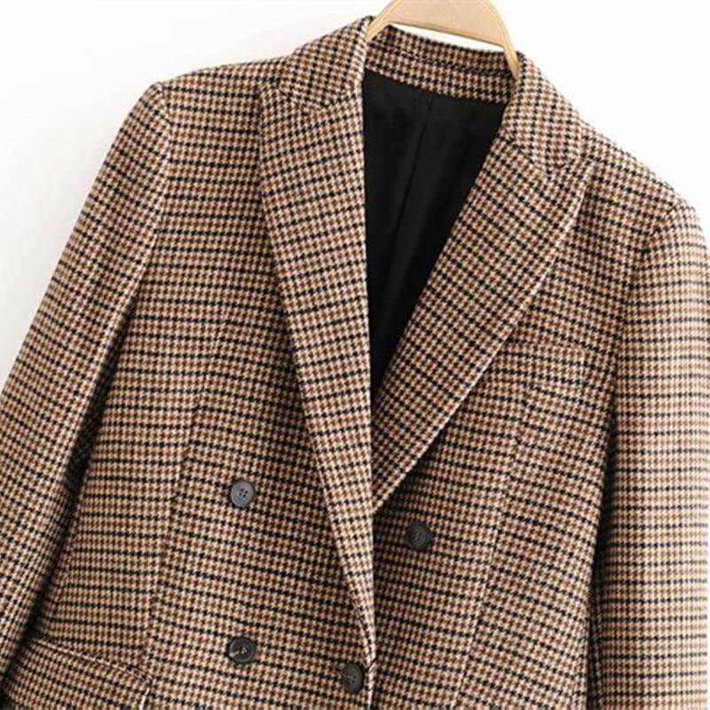 Women's blazer women winter double breasted suit jacket office ladies vintage plaid blazer pockets work wear tops
