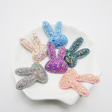 20pcs/bag Glitter Rabbits Patches Cute Animals Applique for Craft Handmade Hair bow Materials Accessoires DIY Craft Supplies(China)
