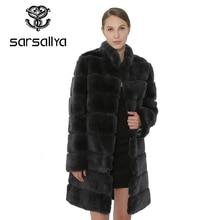 SARSALLYA Rex fourrure de lapin femmes manteau manteau détachable veste chaud hiver femmes vêtements fourrure naturelle femme manteau veste