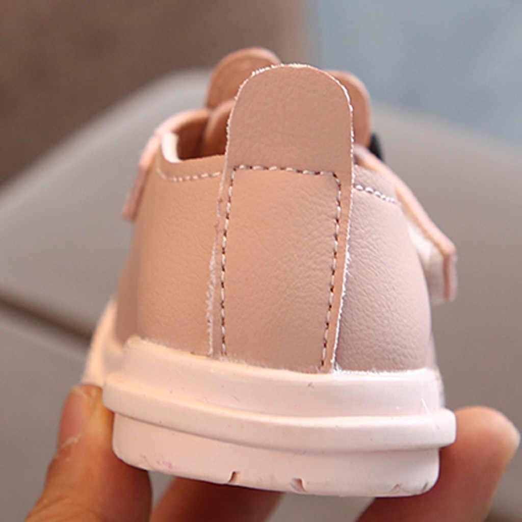 Zapatos de cuero de princesa de conejo de dibujos animados lindos para niñas y niños con lazo sólido de gancho y lazo