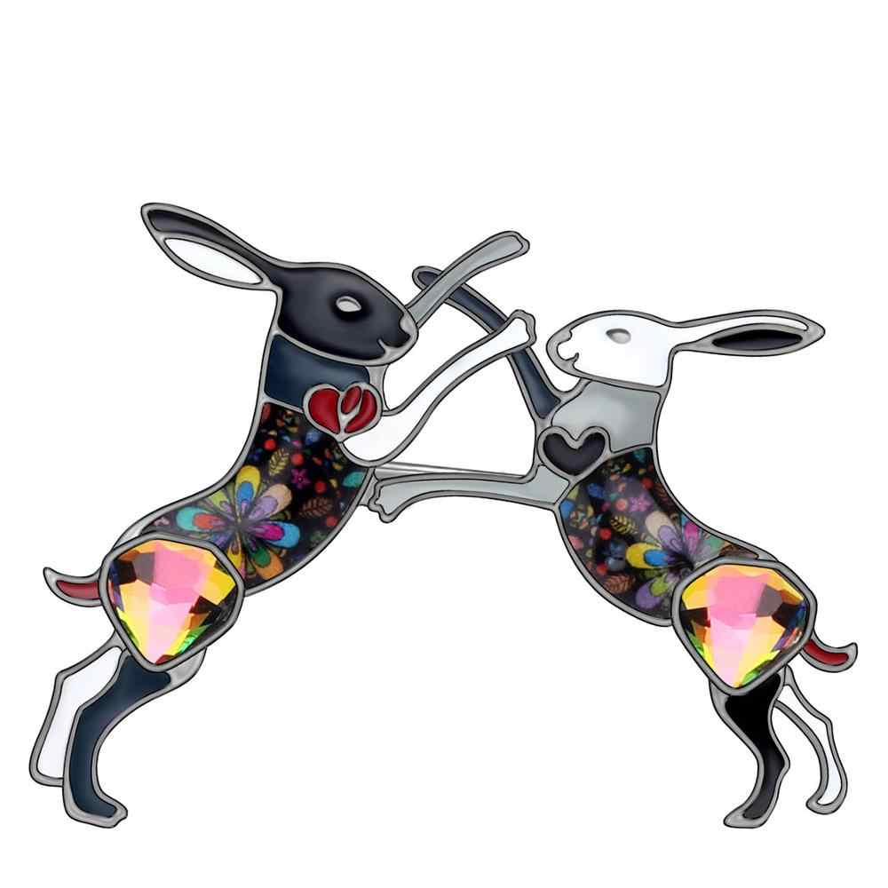 WEVENI Della Lega Dello Smalto Strass Doppio Anime Del Coniglietto Del Coniglio Lepre Animale Spille Spille Vestiti Decorazioni Sciarpa Della Signora Delle Ragazze Teenager Regalo