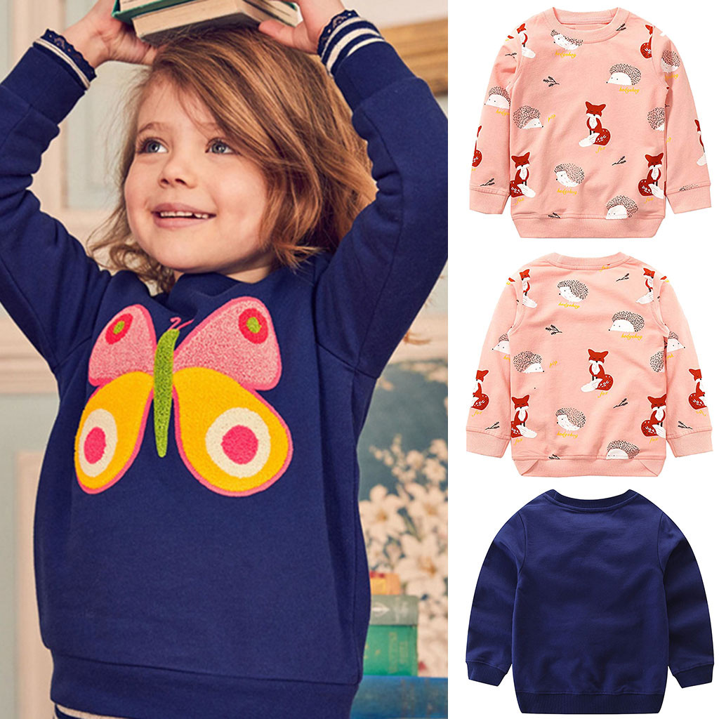 Toddler Kids Baby Boy Girl Long Sleeve Cartoon Fox Bow Print Tops Hoodie Clothes