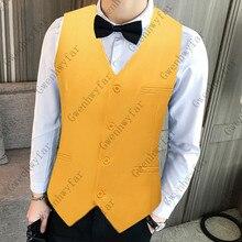Gwenhwyfar желтый жилет мужской классический сплошной цвет деловой одежды вечерние жаккардовые жилеты для свадьбы 20 различных цветов