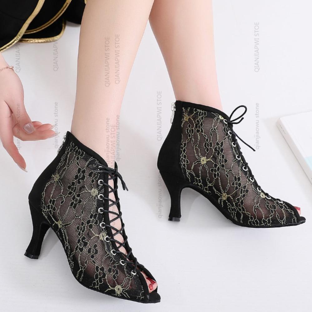 NEW Wholesale Salsa Jazz Ballroom Latin Dance Shoes For Dancing Women Standard Waltz Dances Heels Footwear Gold Net Black Boots