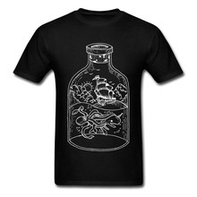 Ocean Monster Fight Men Cool T Shirt White Bottle Ship Big Octopus Whale Print Male Cotton T-shirt Cartoon Drawing(China)
