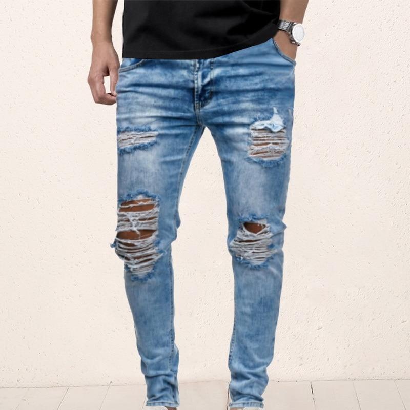 Mens Ripped Jeans for men Casual Black Blue Skinny slim Fit Denim Pants Biker Hip Hop Jeans with sexy Holel Denim Pants drop