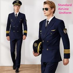 Air Captain Uniform Male Pilot Airline Uniform Coat Professional Suits Jacket + Pants aviation Property Workwear Flight Clothing