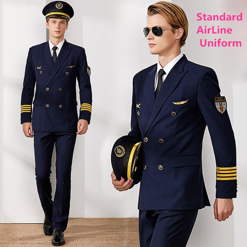 Air Captain uniforme mâle pilote compagnie aérienne uniforme manteau costumes professionnels veste + pantalon aviation propriété vêtements de travail vêtements de vol