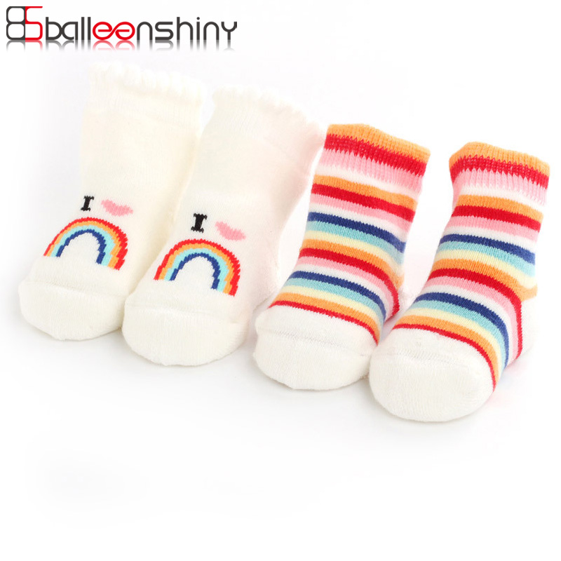 Balleenshiny Baby Socks For Boys Girls Cotton Kids Rainbow Soft Terry Anti-slip Socks Infant Warm Socks Autumn Winter For 0-1Y
