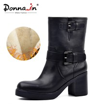 Donna-in fashion metal buckle riding boots real wool lining Winter snow shoes genuine leather platform high heel women boots(China)