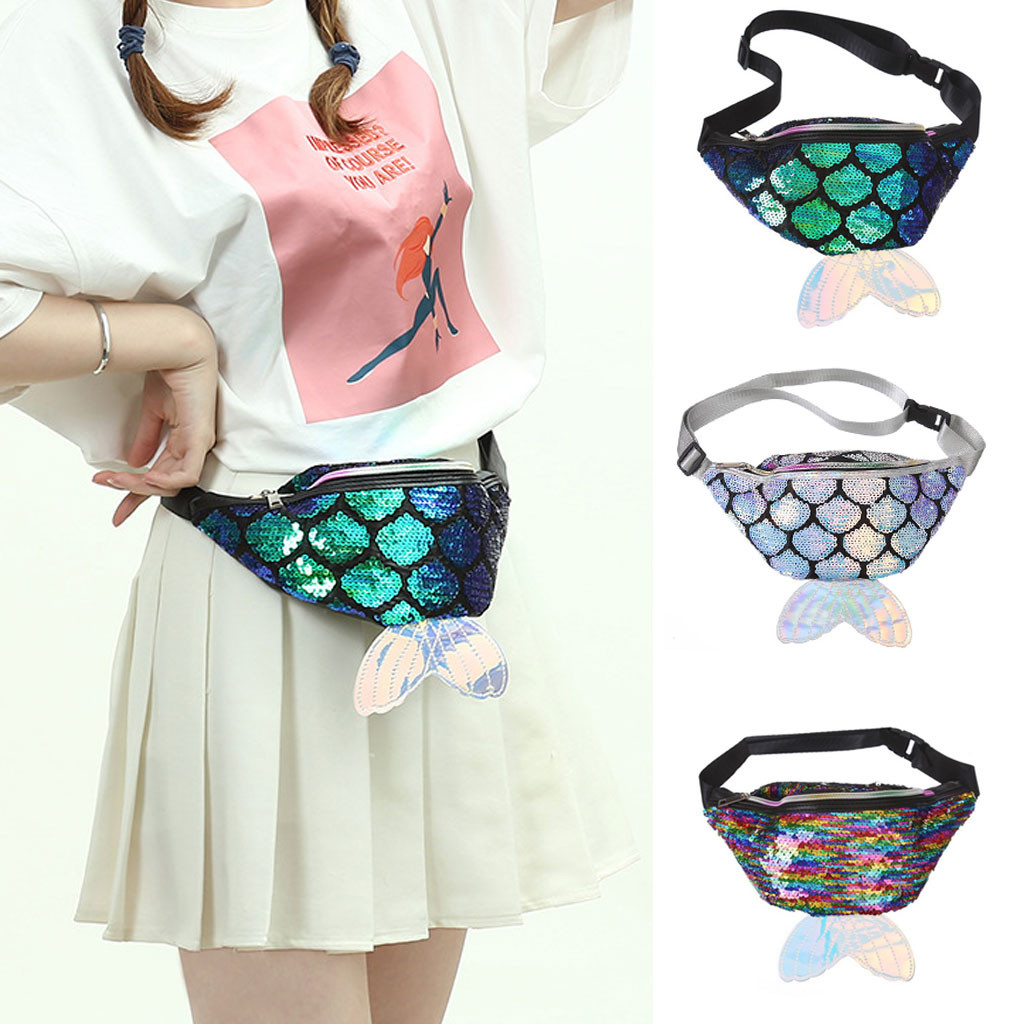New Women's Fanny Pack Colorful Sequin Waist Bag Chest Pouch Shoulder Belt Bag Mermaid Tail Best Gift Present For Girls #R20