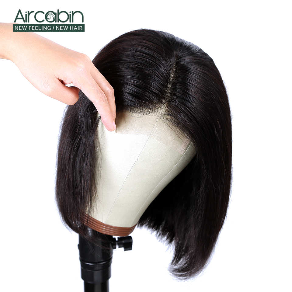 """Aircabin glueless 4x4 laço encerramento peruca brasileira cabelo humano 8 """"-16"""" Polegada peruca 150% densidade média marrom peruca de renda suíço não remy"""