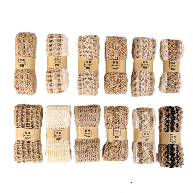 2meters/rolls Hemp jute rope woven ribbon Multi-style style Clothing shoes and hats accessories Creative DIY Festival Decoration