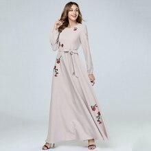 New Middle East Fashion Embroidery Islamic Long Sleeve Maxi Dress Muslim Abaya Dubai Arab Robe Caftan Marocain Prayer Clothing