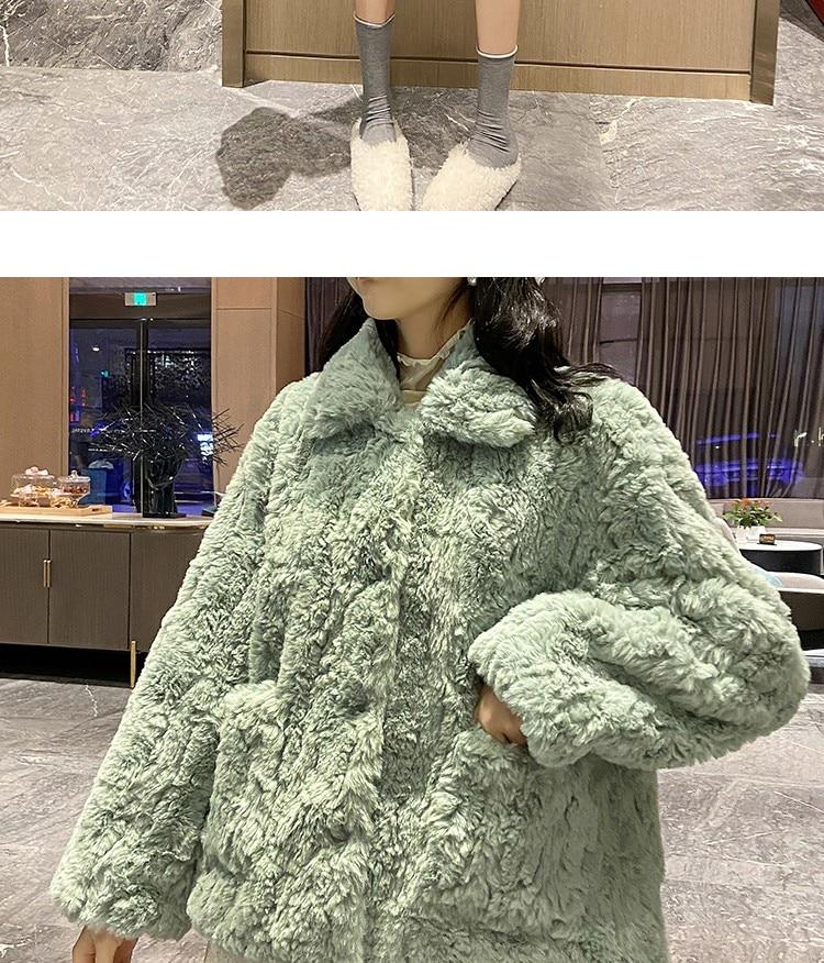H2fa89ca863a3403dbfda8971dda8cd61X Plush jacket women winter short 2021 new Korean version of loose lamb wool faux fur leopard print fur coat women winter