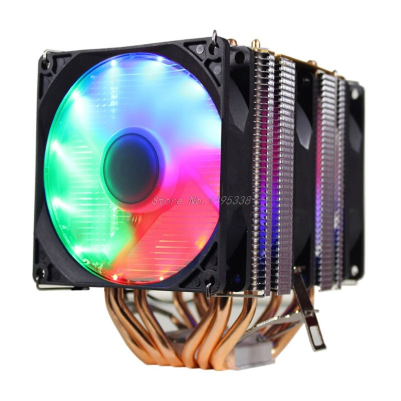 CPU Cooler High Quality 6 Heat Pipes Dual Tower Cooling 9cm RGB Fan Support 3 Fans 3PIN CPU Cooling Fan For Intel and For AMD|Fans & Cooling| |  - title=