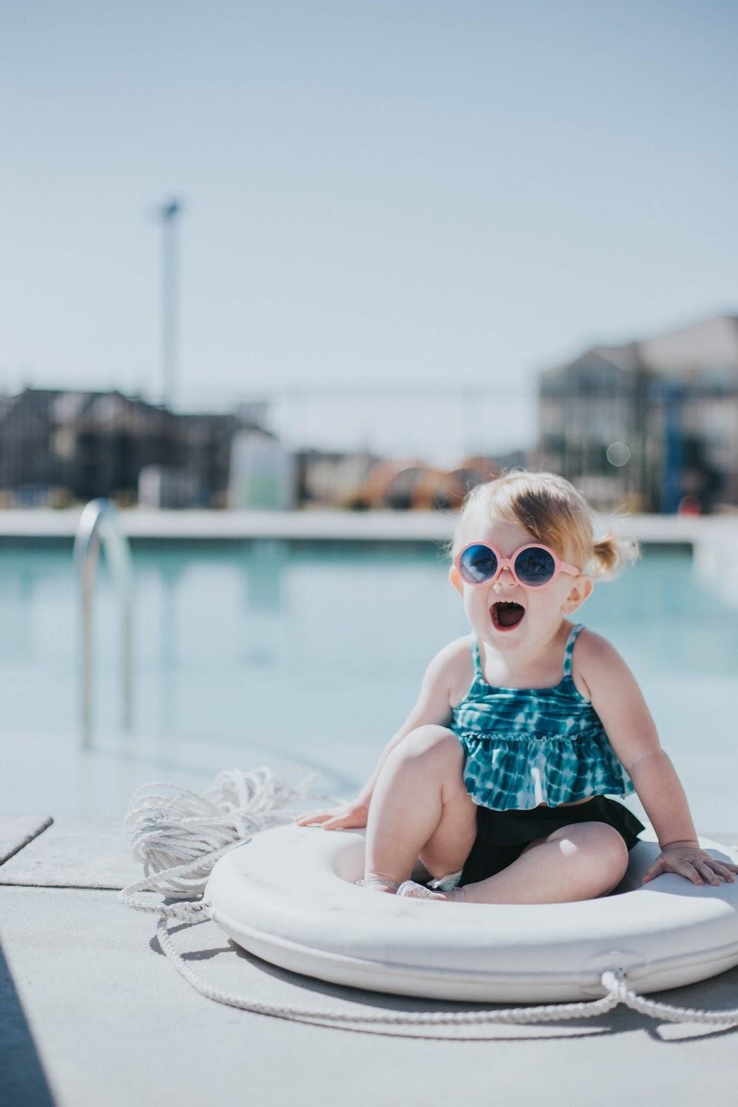 2019 Europe And America New Style Bikini KID'S Swimwear Blue Floral + Flounced Two-Piece Set
