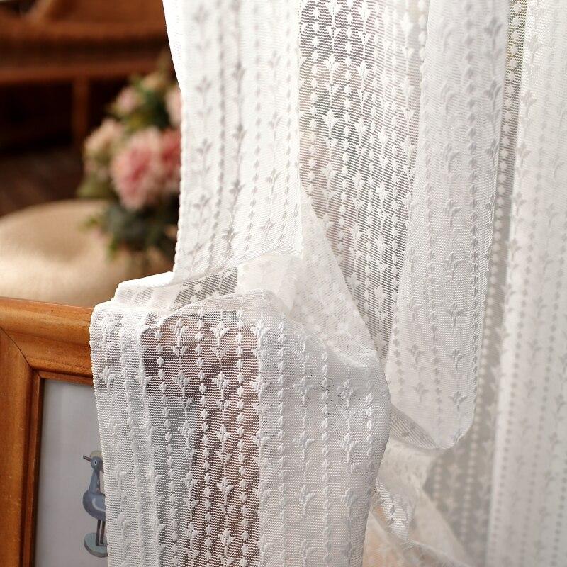 Korean Luxury Lace Embroidered Tulle Curtain White Elegant Sheer Voile For Living Room Bedroom Custom kitchen Short Panel 554#4