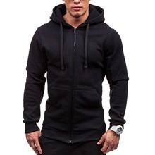 Męskie zimowe bluzy Slim Fit bluza z kapturem znosić ciepły płaszcz kurtka zwykły Zip Up płaszcz na co dzień topy czarny szary 2021 #3 tanie tanio Eillysevens CN (pochodzenie) zipper REGULAR STANDARD NONE Poliester Stałe Kieszenie Akrylowe Z Nood Konwencjonalne