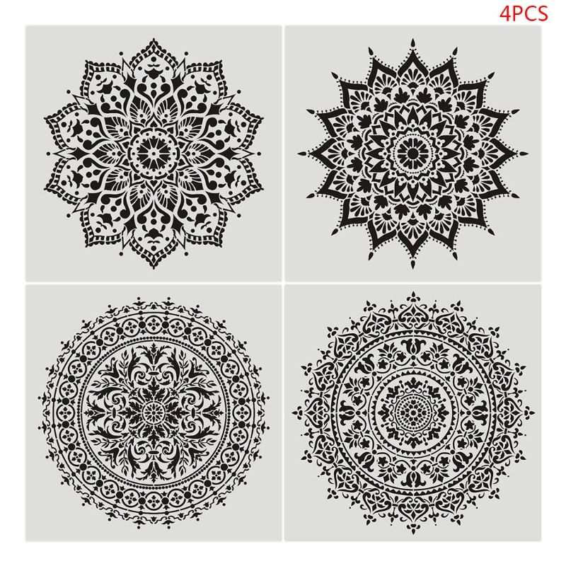 4pcs Flower Stencil Wall Painting DIY Drawing Template For Floor Tiles Funiture