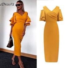 Женское вечернее платье миди, элегантное винтажное платье макси по фигуре, облегающее платье, сексуальное демисезонное женское платье желтого цвета с глубоким декольте MC 2437