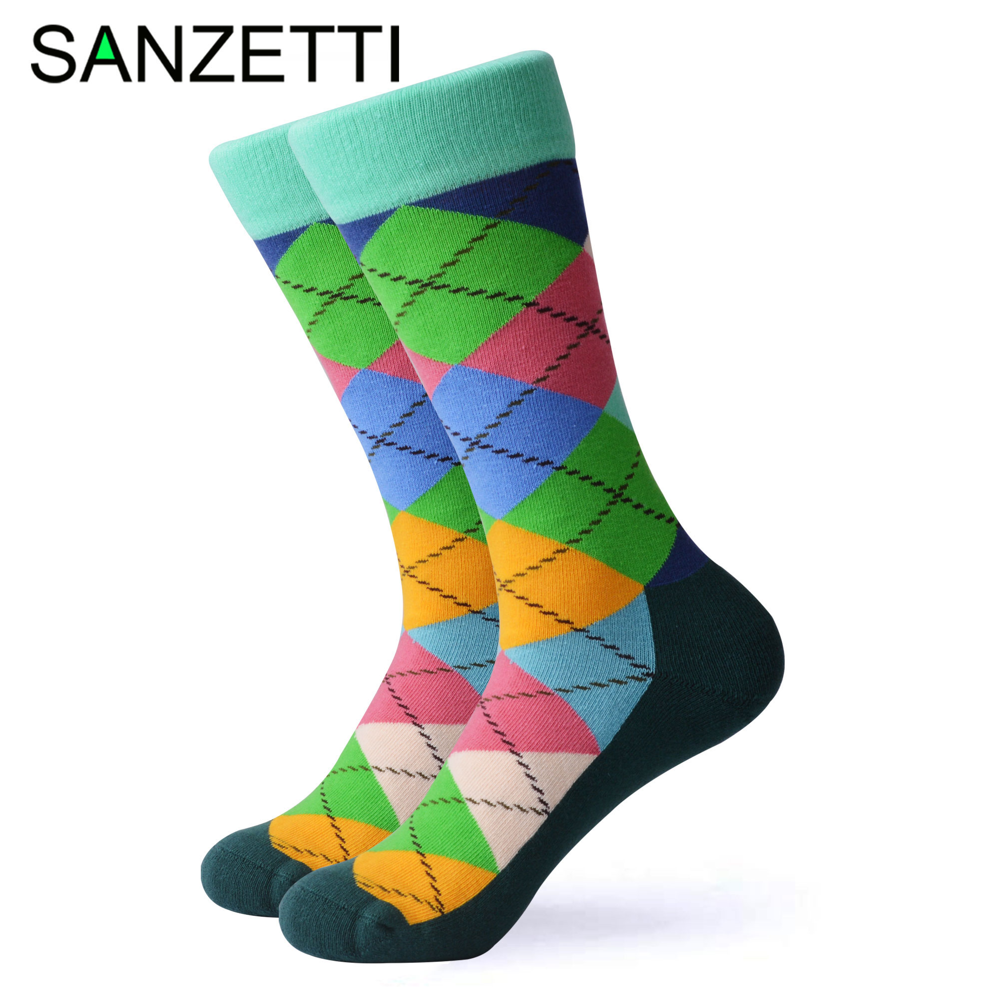 SANZETTI 1 Pair Happy Socks High Quality Men's Colorful Comfortable Combed Cotton Bright Novelty Gift Wedding Dress Terry Socks