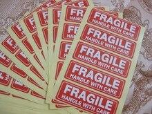 4000 uds, 76x25mm mango frágil con cuidado autoadhesivo etiqueta de envío pegatina, Artículo No.SS16