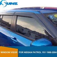 Black Car side Window Deflector For NISSAN PATROL Y61 1998 1999 2000 2001 2002 2003 2004 Sun Rain Deflector Guard SUNZ