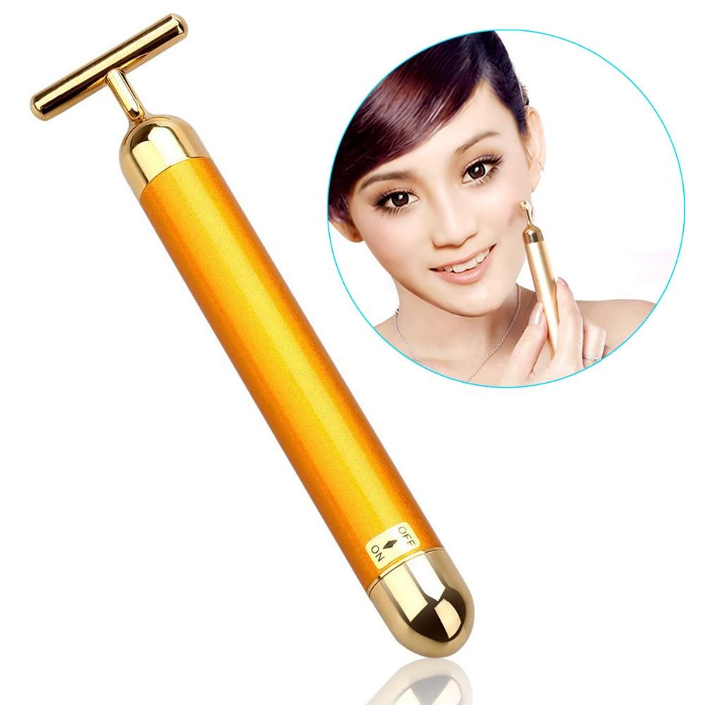 Slimming Face Roller 24k Gold Beauty Bar Facial Skin Tightening Wrinkle Bar Skin Care Electric Stick Massage Face Care Wrinkle
