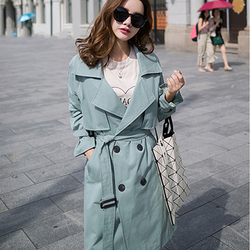 Trench Coat Wild Loose Autumn Overcoat Women's Spring Autumn Mid-length Khaki Double-breasted Casual Windbreaker Outwear Z125