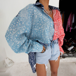 TWOTWINSTYLE Korean Hit Color Women Blouse Lapel Long Sleeve Splicing Print Casual Loose Shirt Female 2020 Fashion New Stylish