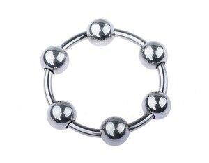 Кольцо на пенис, кольцо с замком, кольцо с задержкой, обруч, магнитостойкое кольцо, кольцо на пенис с пятью бусинами, металлическая нержавеющ...