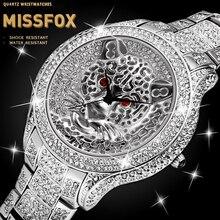 MISSFOX Silber Überzogene Tiger Uhr Luxus Marke Wasserdicht Voll Diamant Perfekte Männer Uhren 2020 Luxus Marke Uhr Stunden
