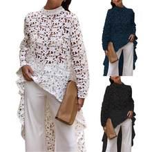 Bluzka wiosna jesień moda kobiety jednolity kolor Hollow Out koronkowa bluzka wysoki niski Top okrągły dekolt drążą piękne bluzki 2021